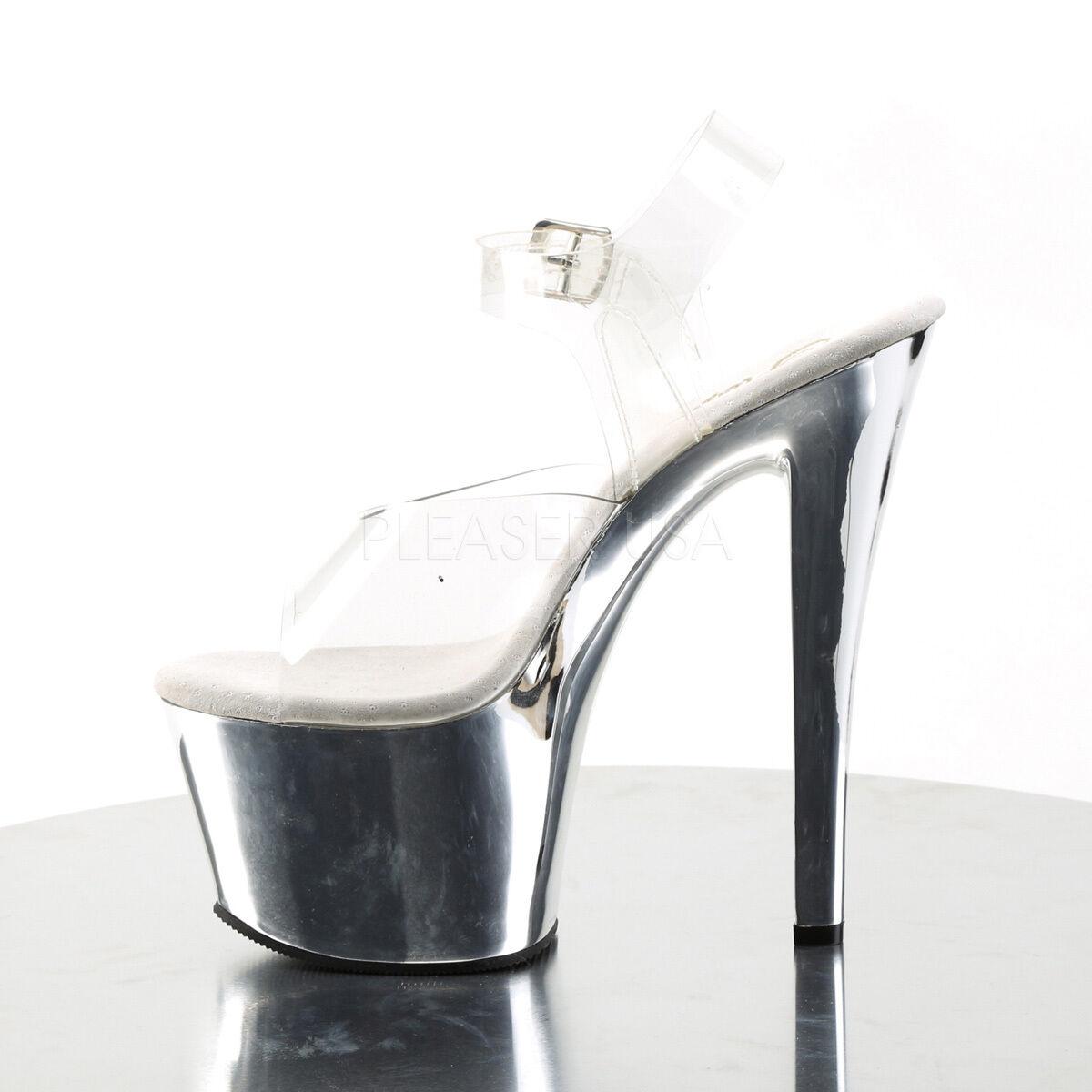 Pleaser Sky-308 Ladies Silver Spike Toe Pump Slide Vegan Shoe Bnkle Strap Sandal