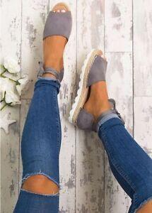 Fashion-Women-Lady-Flat-Wedge-Heel-Espadrilles-Summer-Sandals-Beach-Pumps-Shoes