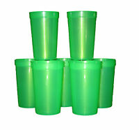 12 Large 20 Oz Plastic Translucent Green Drinking Glasses, Mfg Usa Recyclable
