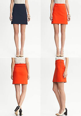 NWT Banana Republic New $79.50 Women Coral Ponte Fit-and-Flare Skirt Size 12P