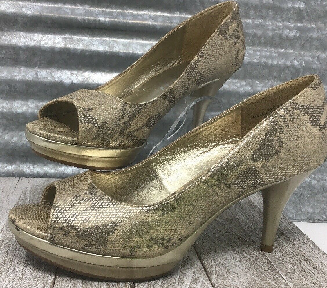 Sam & Libby Kersty gold Metallic Snake Print Platform Pumps Peep toe