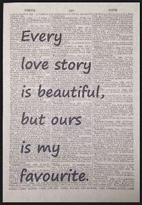 Historia-de-amor-cotizacion-Vintage-Arte-de-la-pared-de-la-pagina-de-Diccionario-Lindo-Regalo