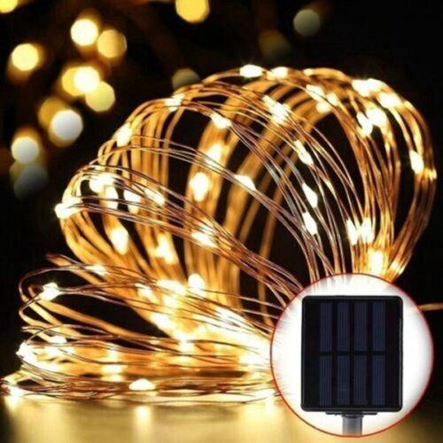 Luces de cadena LED de alambre de cobre alimentadas por energía Solar al aire l