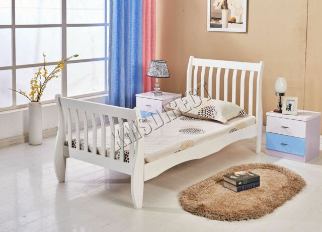 99753f8c9a6f WestWood 3ft Single Wooden Sleigh Bed Frame Pine Bedroom Furniture White  WSB01