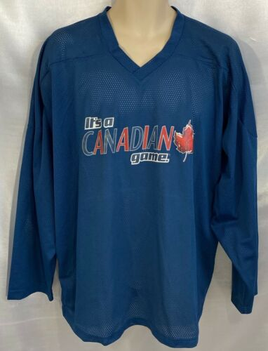 """""""IT'S A CANADIAN GAME"""" HOCKEY JERSEY  BLUE XXL EXC"""