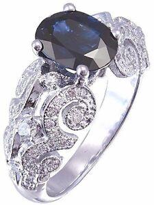 14K-WHITE-GOLD-SAPPHIRE-AND-DIAMONDS-ANTIQUE-DECO-DESIGN-RING-BRIDAL-2-20CTW