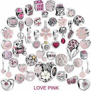 Sterling-Pink-Spacer-Silver-Charms-Dangle-Bead-for-Female-Bracelet-Necklace-UK