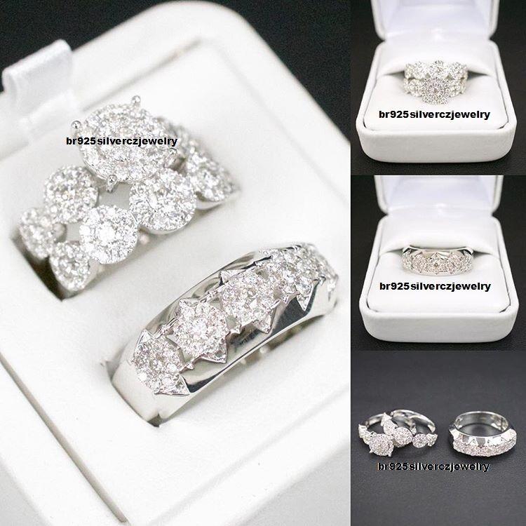 Men's Ladies 2.50 Ct Diamond Bridal Engagement Ring Trio Set 14K White gold Over