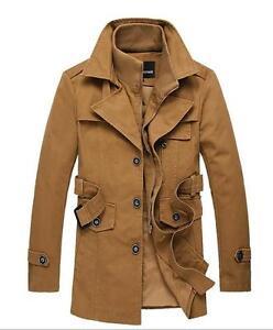 New-Mens-Jackets-Long-Slim-double-collar-trench-coat-windbreaker-jacket-belt