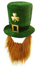 IRISH HAT AND BEARD set ST PATRICKS LEPRECHAUN ginger