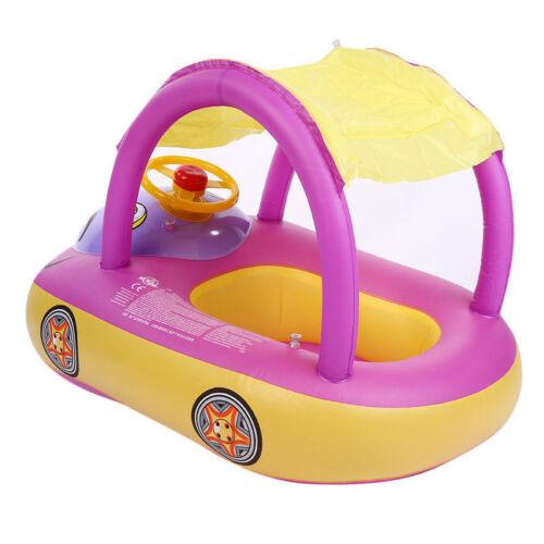 Sunshade Baby Kids Float Seat Boat Inflatable Swim Swimming Ring Pool Water Fun