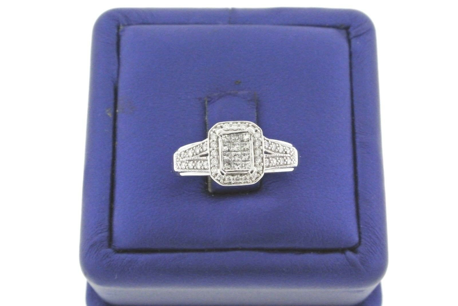 Special Price 10k White gold 1.00 CT Diamond Invisible Setting Engagement Ring,