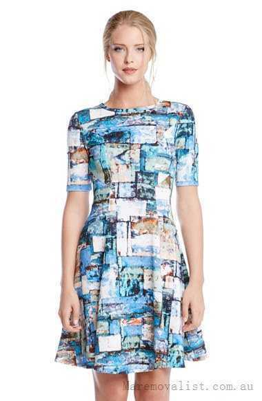 NWT- Karen Kane Collage Print Scuba Knit Fit & Flare Dress Size M