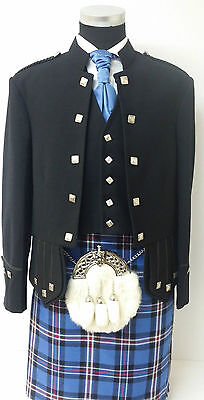 100% Wool Sherrifmuir Kilt Jacket & Vest chrome Buttons/Scotish Wedding Dress