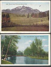 LOT of 2 WYOMING Cards ~ Electric Peak, Yellowstone/Lake Minnehaha, Cheyenne