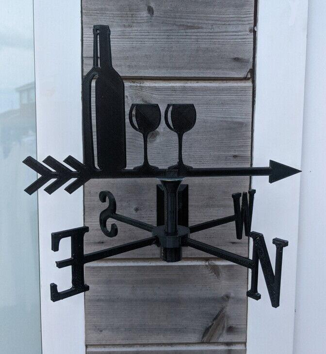Wine Bottle & Glasses Acrylic Garden Weather Vane Wall, Pole or Post Mounted