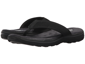 Details about Men Skechers Relaxed Fit Evented Borte Flip Flop Sandal 65105 Black Brand New