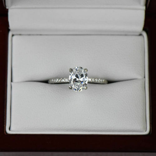 2.65ct White Oval Cut Diamond Solitaire Engagement Ring in 14K White Gold Finish