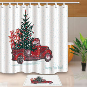 Red Truck With Fir Tree Nowy Christmas Bathroom Fabric Shower Curtain Set 71inch Ebay