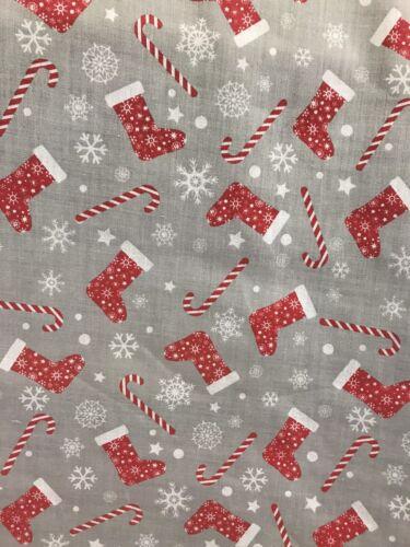 Medias de Navidad Gris//Rojo//Bastón de Caramelo//Copo De Nieve Diseño Poli Algodón Tela