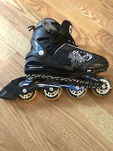 Rollerblade-Adjustable-Skates-W-Bag-Blade-runner-Phoenix-BLACK-BLUE-Sz-J-5-8