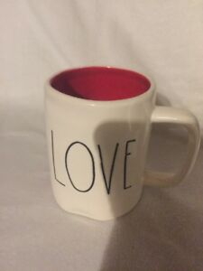 Rae-Dunn-LOVE-YOU-New-By-Magenta-Red-Interior-Double-Sided-Rare