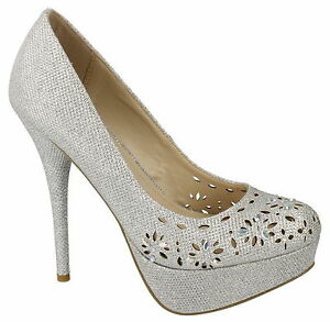 R6A Anne Michelle F9R793 Damen Silber Glitzer Stiletto Schuhe UK3-7