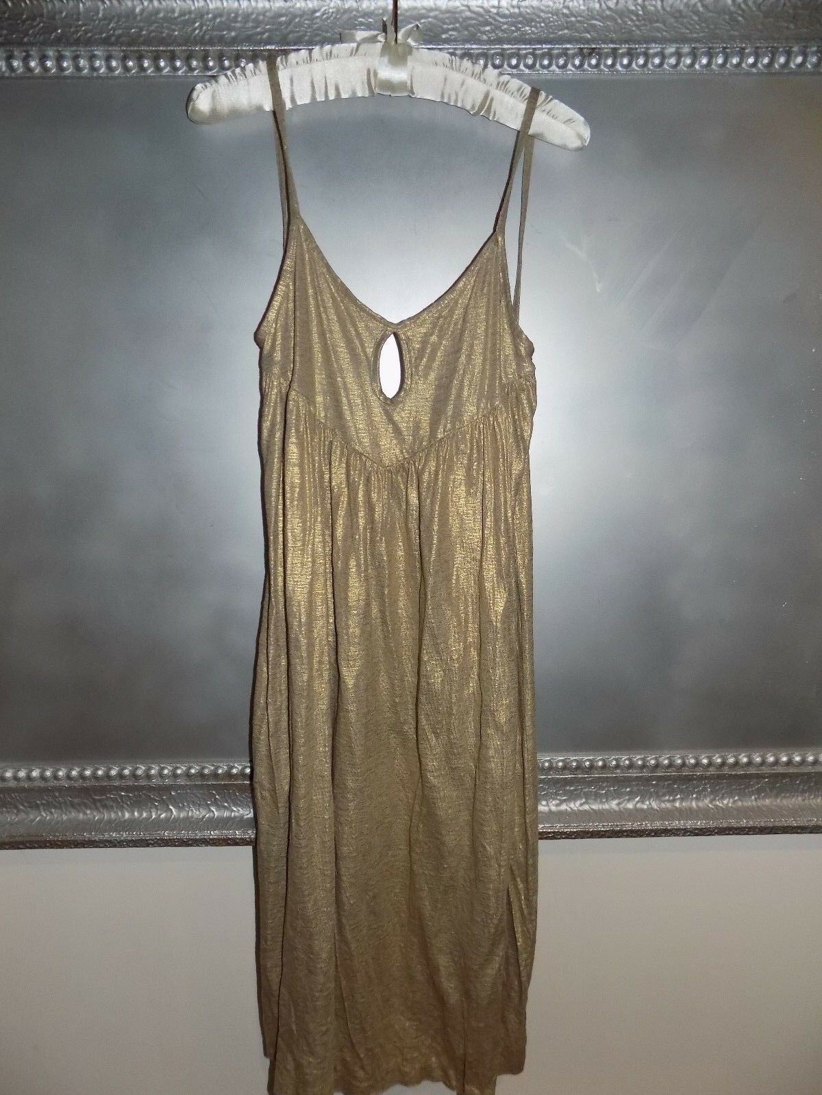Tibi New York Gold Low Back Draped Linen knit Dress Loose Flattering Amazing  S