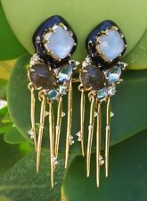 ALEXIS BITTAR MOTHER OF PEARL SATELLITE SPIKE CRYSTAL CLIP EARRINGS, NWOT