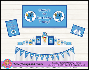 Details about COOKIE MONSTER Personalised Birthday Party Decorations  Supplies Sesame Street