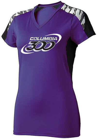 Columbia 300 Women's Boss Performance Crew Bowling Shirt Dri-Fit Purple