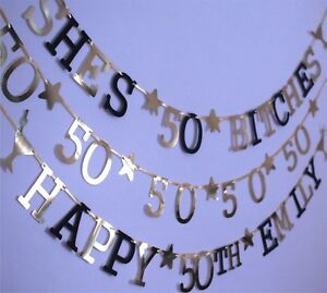 Image Is Loading 50th Birthday Decorations BANNER GOLD BLACK SILVER SHE