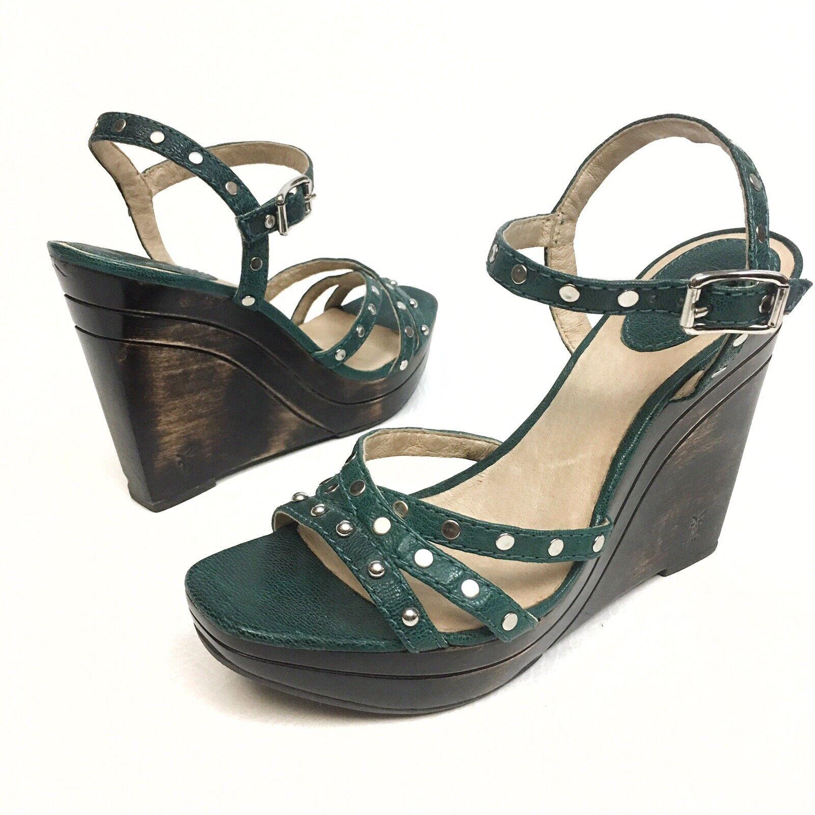 Frye'Bridget 'Teal läder w   silver Studs Strappy Wedge Wedge Wedge Platform Sandaler Sz 9M  köpa billiga nya