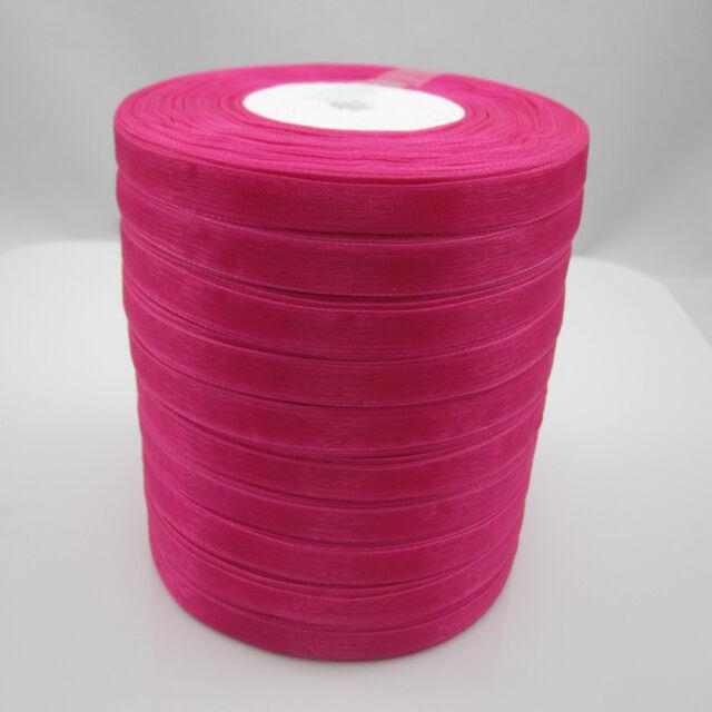 """NEW Christmas hot sale 50 Yards 3/8"""" Edge Sheer Organza Ribbon Craft Satin Rose"""