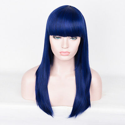 Fancy dress Platinum Pastel Royal Dark Blue Long Straight Hair Full Wig