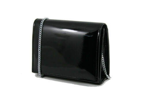 LONI Clutch Mini Crossbody Bag with Wristlet and Chain in Faux Suede or Patent
