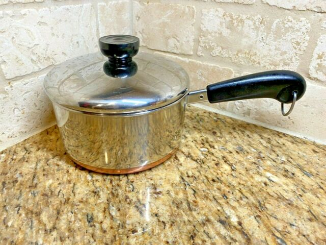 1801 REVERE WARE 1 1/2 QT STAINLESS SAUCE PAN w/ COPPER BOTTOM Lid USA