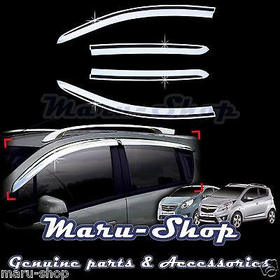Chrome Door Window Vent Visor Deflector for 09~ Chevrolet Spark/Spark GT/Beat