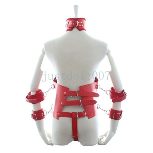 Real Leather Body Harness Restraint Cupless Corset Collar Cuffs Costume Jacket