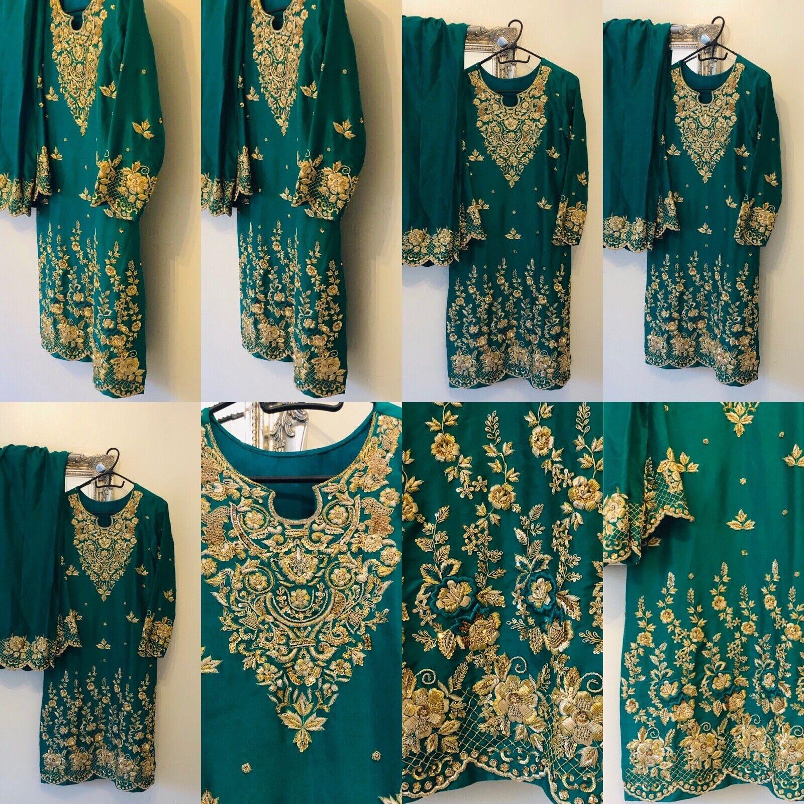 Pakistani Indian Designer Suits - Emerald Green with gold - Salwar Kameez Eid