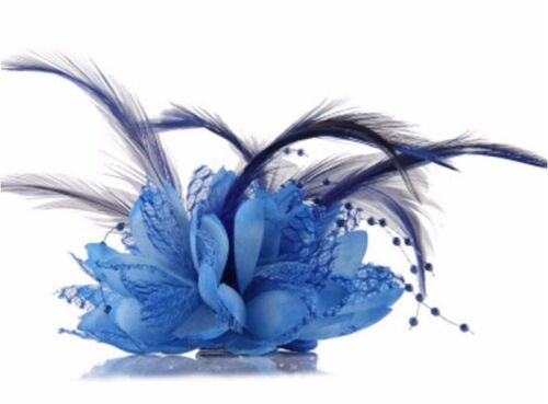 UK Seller Pearl /& Feather Flower Hair Clip//Corsage//Brooch NEW Beautiful Lace