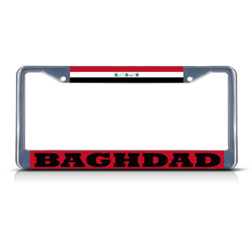 IRAQ BAGHDAD Chrome Heavy Duty Metal License Plate Frame Tag Border