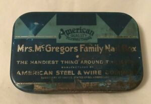 Vintage-Advertising-Tin-MRS-McGREGORS-FAMILY-NAILS-American-Steel-amp-Wire
