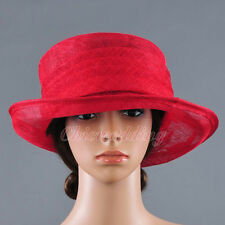 Fashion Red Church Hat Kentucky Derby Hat Sinamay Wide Brim Wedding Dress Hat