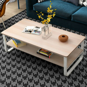 Amazing Details About Simple Modern Living Room Double Coffee Table 47 23 16Inch White Maple Color Uwap Interior Chair Design Uwaporg
