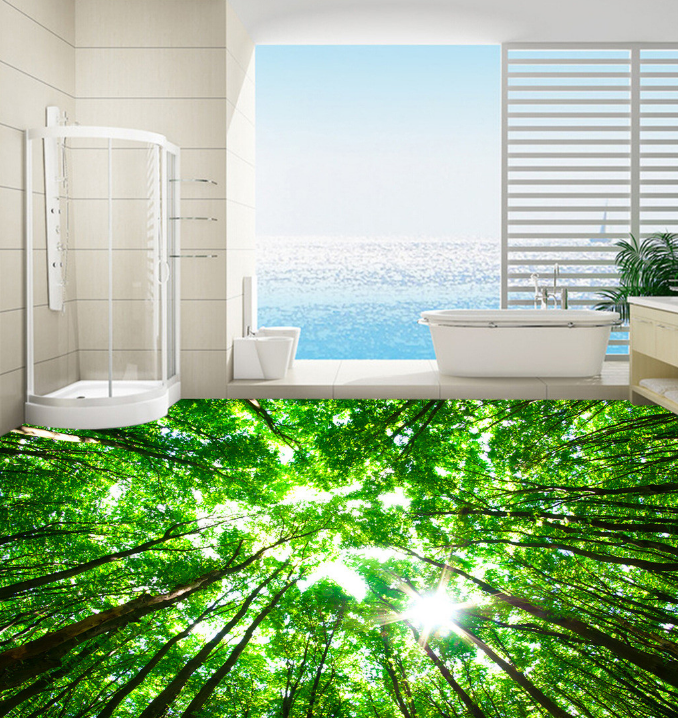 3D Sun Grün Forest 122 Floor Wall Paper Wall Print Decal Wall Deco AJ WALLPAPER
