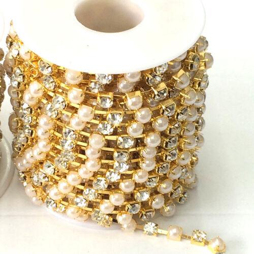 1 Yard Pearl Rhinestones Chain Ribbon Trims DIY Sew on Clothing Headwear Craft