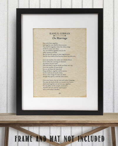 On Marriage Decor Details about  /Kahlil Gibran 11x14 Unframed Typography Book Page Print
