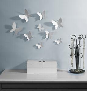 3d Sticker Mural Decoration Muraux Deco Papillon Mur Tatouage Blanc