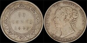 1885-Silver-50-Cents-Coin-Newfoundland-Canada-Catalog-KM-6-Queen-Victoria-Old